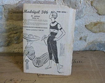 1950s French sewing pattern for crop pants and short sleeved top Madrigal 346
