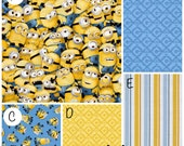 Crib Bedding Minions Dispicable Me Yellow Blue Baby Boy Crib Bedding Bumpers Sheet Blanket Skirt