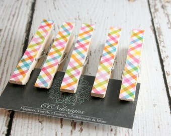 Pastel Plaid Clothespin Magnets, Set of 5