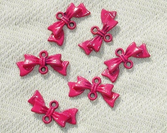 Pink Bow Connector Charms - Jewelry Making Supplies - 6 pcs
