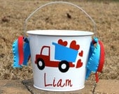 Adorable personalized 5 Qt Bucket with Dump Truck  and hearts