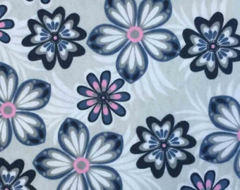Snuggle Flannel Prints - Pink Blue Flowers - Sold by the Yard