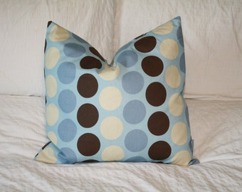 "20"" x 20"" Square Pillow Cover - Tan/Blue/Brown Dots, Cushion Cover, Throw Pillow, Premier Prints, Baby, Nursery, Home, Beach, Cottage Pillow"