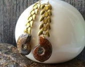 Vintage brass wheat chain and ammonite fossil earrings