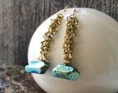 brass triangle chain and seapunk titanium Quartz earrings