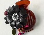 big leather sunflower with lady bug hair clip , bun holder