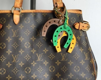 Leather horse shoe purse  charm