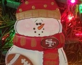 FOOTBALL SNOWMAN PERSONALIZED Ornament Sports team colors customized wood