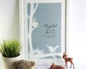 Bird's Nest Personalised Baby Name papercut