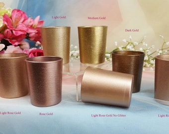 12 per, Rose Gold Glitter Glass Votive Candle Holders for Weddings and Parties, Glitter , Wedding decoration, Gold & Neutrals