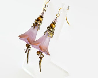 Lilac antique bronze Swarovski vintage style hand dyed lucite trumpet flower earrings