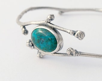 Botanical bangle flower buds and chrysocolla bangle - sterling silver twig and buds bangle with chrysocolla cabochon