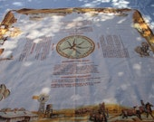 1960s Vintage Tablecloth from Outback Australia - Recipes around Edge of Tablecloth