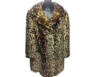 Vintage Leopard Coat, Faux Fur Pinup Bombshell Animal Print Jacket