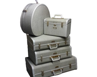 Vintage Luggage Set - Vintage 5pc Ultralite Samsonite Suitcase, 1950s Train Case, Vintage Round Suitcase, Mid Century Modern, Vintage Travel