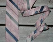Wembley Polysilk Necktie *Pink & Blue Diagonal Stripes* Madmen Dress Tie