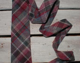 Vintage Woolcrofter Necktie By Wembley *Muted Shades Of Blue & Cranberry* Handsome Winter Tie