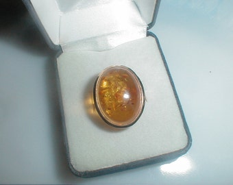 14K Gold Ring With Large Amber Cabochon Size 7 *Excellent*