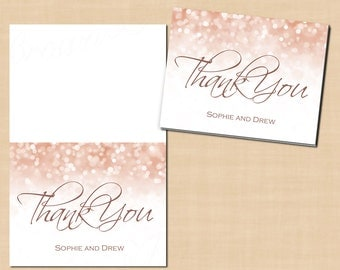 Rose Gold Sparkles Thank You Cards (Fold to 5.5x4.25): Text-Editable in Microsoft® Word, Printable, Instant Download