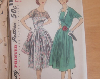 50s Vintage Women's Sewing Dress Pattern Simplicity Size 16