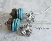 Handmade cowgirl up silver tone horse earrings with turquoise/brown accents, and Swarovski crystals, ready to ship, gifts for her made in MT