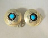 Turquoise Sterling Silver Clip On Earrings / Vintage Native American Earrings / Indian Circle Earrings
