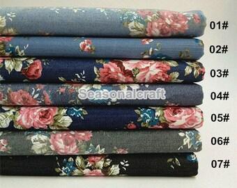 Flower Rose Denim Cotton Fabric, Washed Denim, Stretch denim, diy,Sewing 1/2 yard (QT626B)