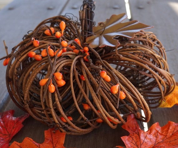 Decorative Vine Twig Pumpkin, Rustic Fall & Thanksgiving Decor