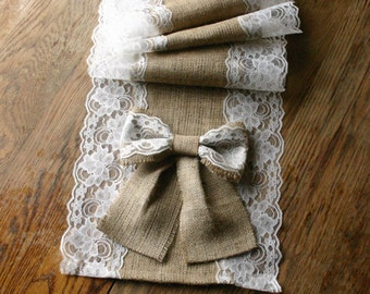 Burlap and lace runner, French country weddings rustic elegance