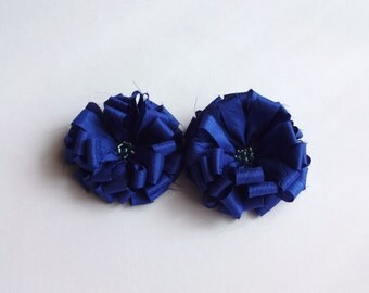2 Cobalt Blue Fabric Flowers Embellishment