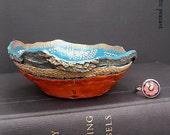Bohemian Ring Bowl - Tuscan Teal Khaki Tan Bronzed Carrot Ebony Ivory - Gypsy Ring Bowl - Handmade Textured Polymer Bowl