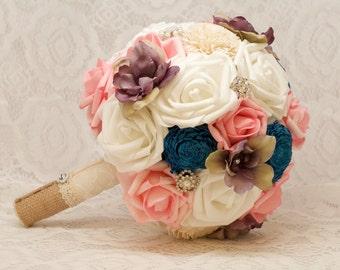 Wedding Bouquet Pink Blue and Purple Sola Burlap Keepsake