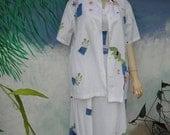 30% OFF Play Alegre 2 Pc Hand Painted 100 Percent Cotton White Maxi Dress & Short Sleeve Shirt, sz M