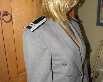 Men's Military U.S. Airforce Grey Crop Jacket, Epaulets, Silver Eagle Buttons, sz S