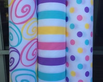 """Co-ordinating pastel colors 100% cotton quilting fabric polka dot-stripes-swirl 44"""" wide sold by the yard"""
