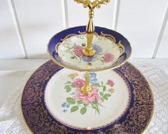 Vintage 2 tier cake stand, cobalt and gold chintz plate, tidbit or sandwich server, excellent condition