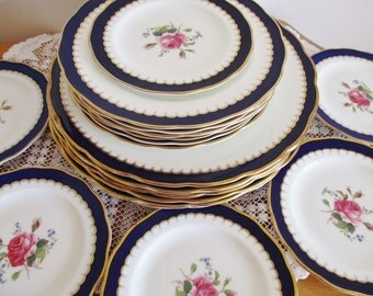 VINTAGE 1953 DINNERWARE set by Royal Swansea Coronation, 18 piece set for 6, artist signed, English Fine Bone China, excellent condition
