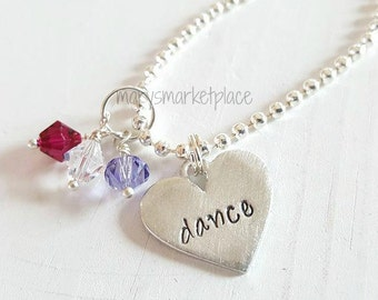 Dance Hand Stamped Necklace Gift Set