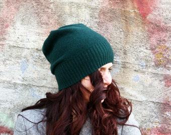Merino hat in dark green- beanie- women's hat, knit hat, present for her