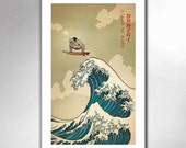 SURFS UP SUMO - Great Wave Inspired Sumo Wrestler Art Print 11x17 by Rob Ozborne