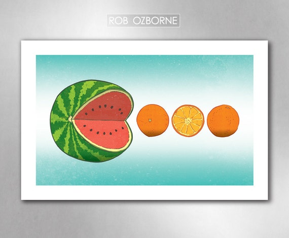 PAC-MELON Kitchen Art Print 11x17 by Rob Ozborne