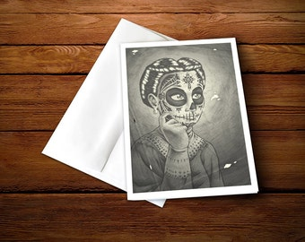 """5 x 7"""" Day of the Dead Classic Greeting Card - """"Elena"""""""