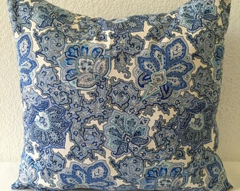 Single Pillow Cover 18x18inch-Free US Shipping - Waverly Inspirations Blue Floral, Home Decor Fabric, Decorative Pillow