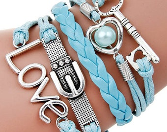Multi Row White and Blue Leatherette Wrap Bracelet Love Pearl Key Knot Braided Chord Silver Plated Charms