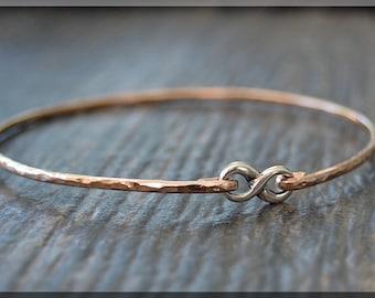 14k Rose Gold Filled Infinity Bangle, Mixed Metal Bangle Bracelet, Figure 8 Stacking Bangle, Sterling Silver Infinity Layering Bangle