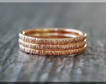 Set of 3 14k Rose Gold Filled Twig Ring, Bark Texture Ring, Rose Gold Filled Stacking Ring, Woodland Ring, Branch Ring, Gold ring stack