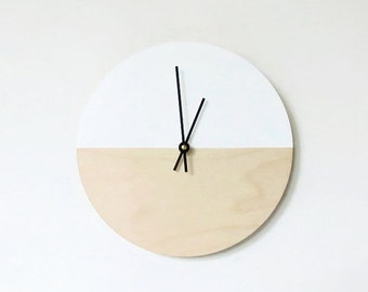 Sale, Wall Clock, Trending Minimalist Art,  Natural Wood and White,  Housewares, Home and Living, Unique Wall  Clock
