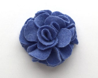 Blue Cashmere Flower Pin/Hair Clip -  Hair Accessory - Repurposed Cashmere - Upcycled Cashmere Brooch - Recycled Cashmere Flower