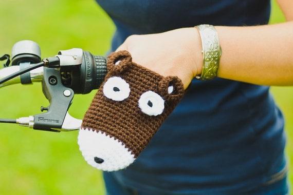 Bike gloves, bike mittens,Bear bike handwarmers for adults and teens, bear crochet bicycle gloves, cycling, gift for bike riders