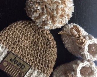 Jeep hat and bootie set infant beanie and socks